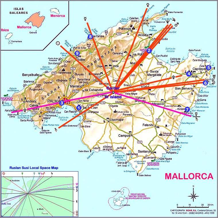 Mallorca map. Local Spase planets rays